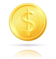 Isolated gold dollar coin vector image vector image