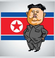 kim jong-un cartoon with north korea flag vector image vector image