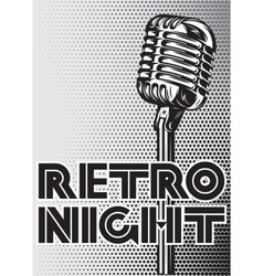 poster with a vintage microphone on gray vector image
