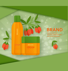 Cream and lotion bottles with its ingradient berry vector