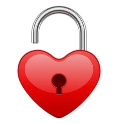 open red shiny heart lock shape vector image