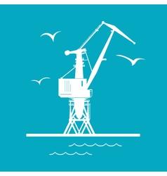 Port cargo crane isolated on green vector