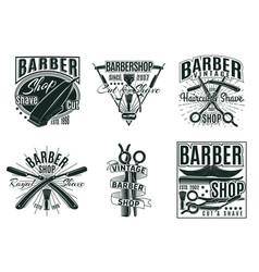 vintage hair saloon labels set vector image vector image