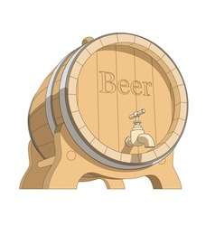 wooden tun with beer vector image vector image