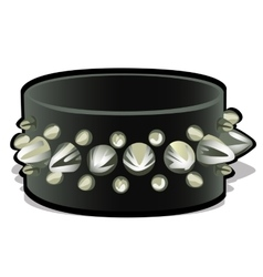 Black leather wristband with metal spikes vector image