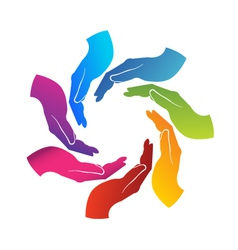 Hands teamwork logo vector