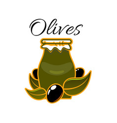 icon of olives and olive oil in jar vector image vector image