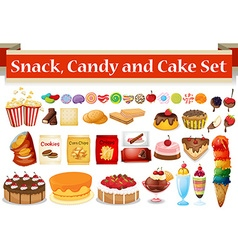 Many kind of snack and candy vector image vector image