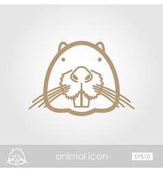Otter beaver outline icon animal head vector