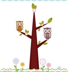 owls on tree vector image