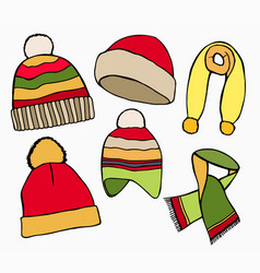 winter hat scarves vector image