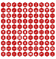 100 gear icons hexagon red vector