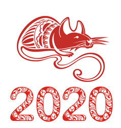 2020 chinese rat new year banner design template vector image