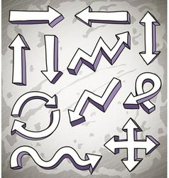 3d doodle arrows vector image