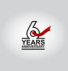 6 years anniversary logotype with black outline vector