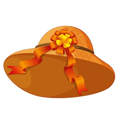 A fashionable brown hat with a cute ribbon vector