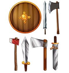A shield swords and axes vector image