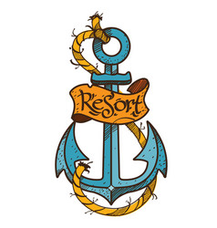Anchor logo sketch of tattoo color on the theme vector