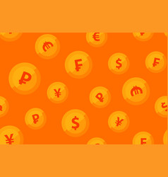 background orange color with golden coins of vector image