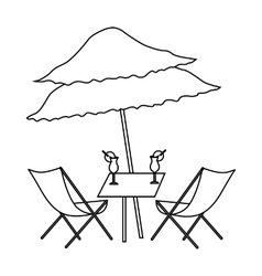 Beach table with cocktails icon outline style vector