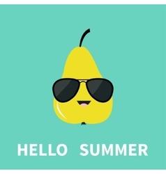 Big yellow pear fruit wearing sunglasses Cute vector image