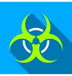 Bio Hazard Flat Long Shadow Square Icon vector image