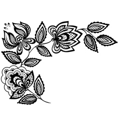 Black and white lace flowers vector