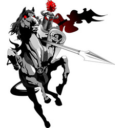 Black knight on horseback vector