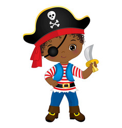 Black pirate wearing eye patch and hat with skull vector