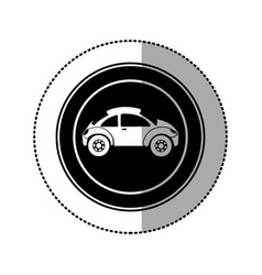 Black round emblem side sport car icon vector