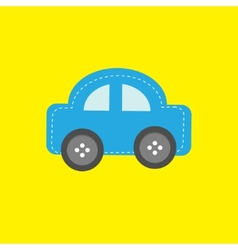 Blue car applique with dash line thred and wheel vector