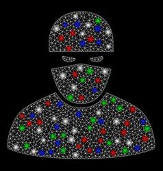 Bright mesh network ninja with light spots vector
