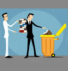 Business man throws books vector