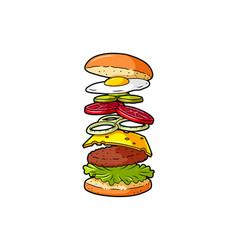 Cartoon cheeseburger ingredients vector