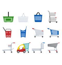 cartoon color supermarket carts icon set vector image