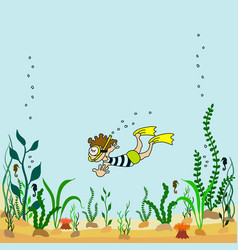 Cartoon seabed with seaweeds vector