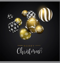 Christmas gold bauble ornament greeting card vector
