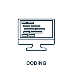 coding line icon thin design style from vector image