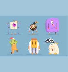 collection funny monsters cartoon characters in vector image