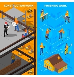 Construction Workers Isometric Banners Set vector image