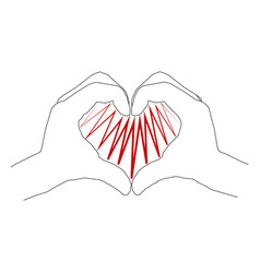 contour human hands forming a heart shape vector image