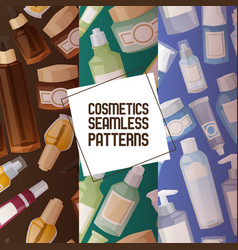 cosmetic product seamless pattern skincare vector image