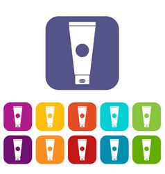 cream tube icons set vector image
