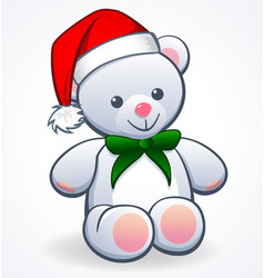 cute cuddly white teddy bear with santa hat vector image