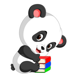 Cute panda holding pencil and book vector