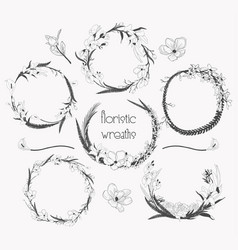 Delicate floristic wreaths flower frame design vector