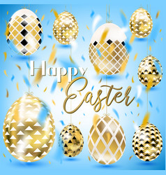 Easter vintage golden eggs in the sky vector