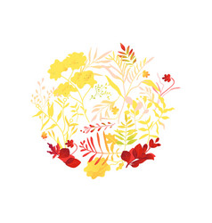 Flat abstract autumn plants pattern icon vector