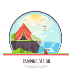 Flat style design of seaside landscape and camping vector