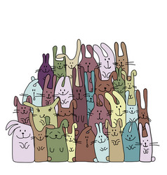 Funny rabbits family for your design vector